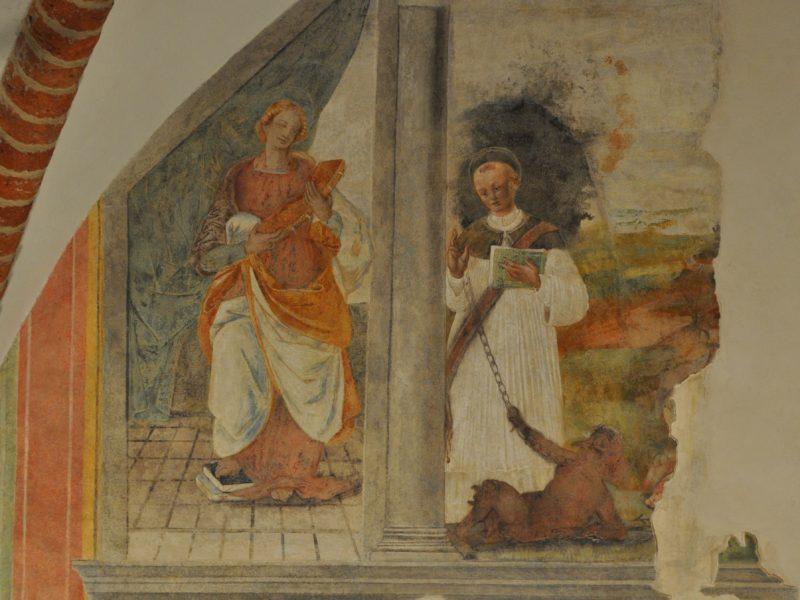Particolare dell'affresco di Bernardino Lanino